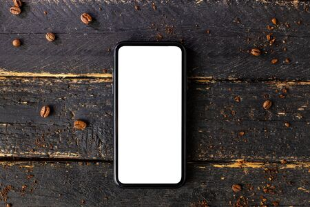 Mobile phone mock up and coffee .Composition for coffee shop and coffee top view Zdjęcie Seryjne