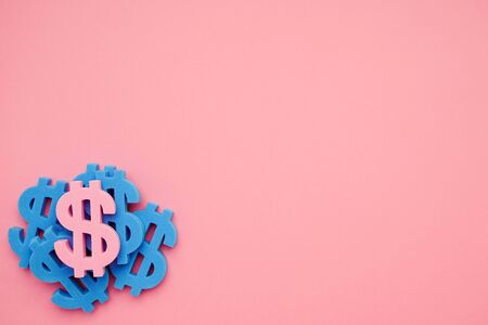 Pink background wiith dollar symbols , money sign top view