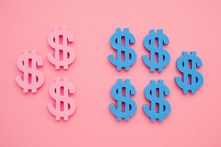 American dollar symbol on pink background,blue and pink money minimal flatlay top view