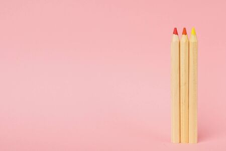 Pink pastel background with wooden colorful ordinary pencils. Back to school. Zdjęcie Seryjne