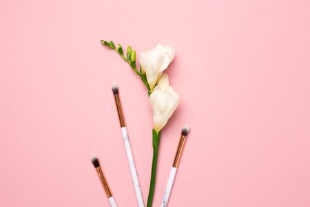 Beautiful white flower with make up brushes on pink background