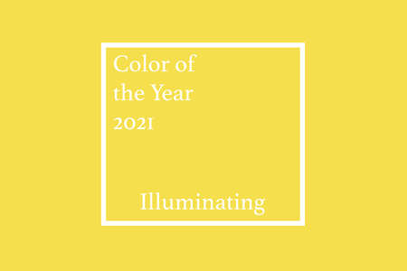 Color of the year 2021. Illuminating and Ultimate Gray. Yellow and Gray background, web banner with office notebook, mobile phone, glasses and papers top view Zdjęcie Seryjne