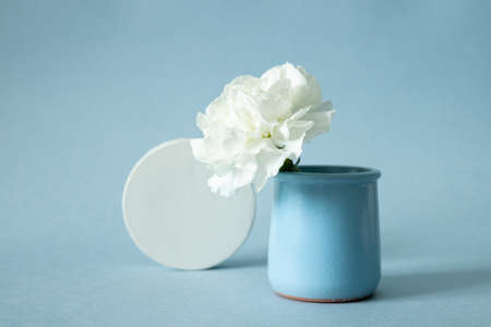White cocncrete circle shaped pedestal and white flower in vase on blue pastel paper background. Stone platform. Abstract geometric pedestal side view