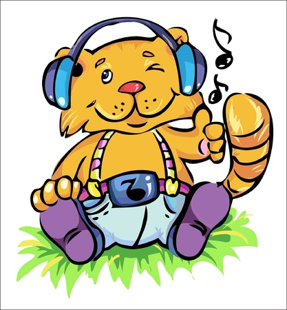vector illustration- cute little cat seating on the gras and lictening his favorite music Vector