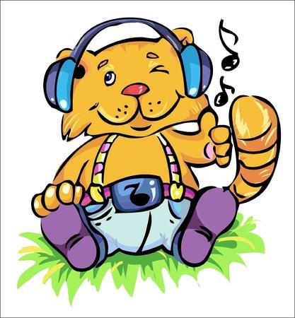vectorillustratie-schattige kat zit op het gras en lictening zijn favoriete muziek