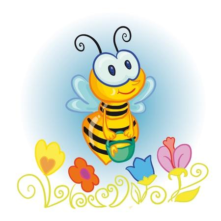 ilustración vectorial - little bee con cubeta de miel sobre las flores