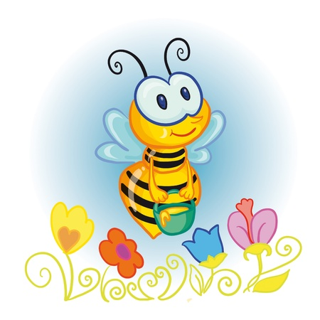 abejas panal: ilustraci�n vectorial - little bee con cubeta de miel sobre las flores