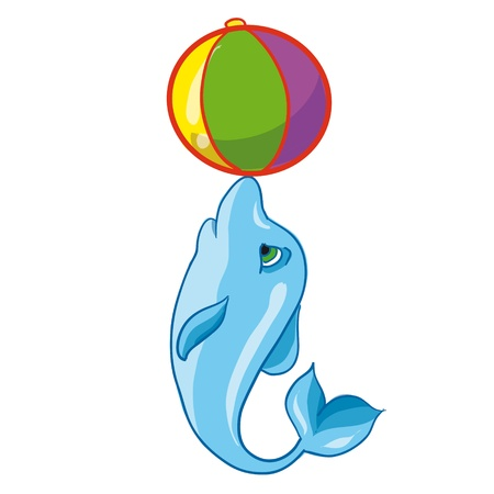 vector illustration - dolphin with a ball Vector