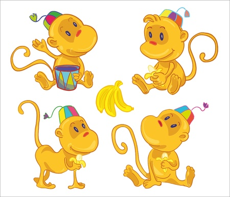 dram: vector illustration- four little funny monces with bananas. Play on the dram, eat banan, seat and walk