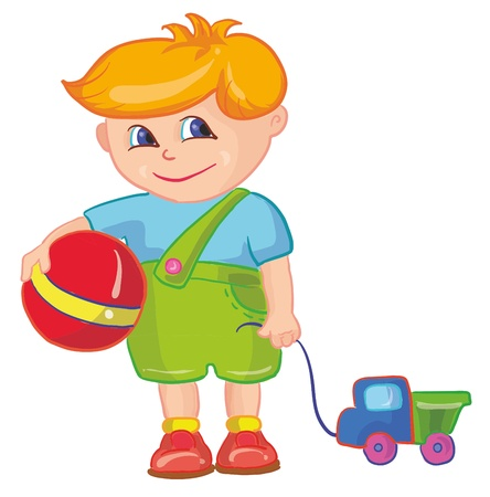 vector illustration-little boy with ball and toy car Stock Vector - 9995638