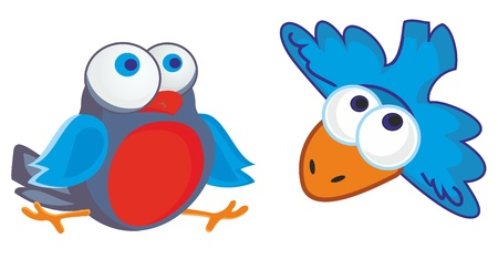 vector illustration - two funny little birds with big round eyes Illustration