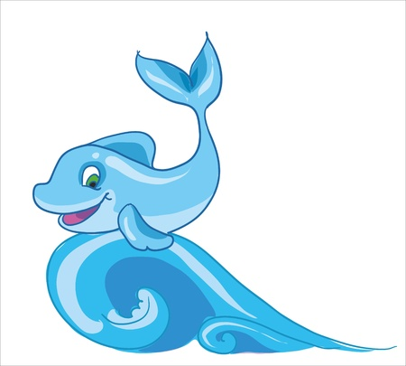 floatable: Vector illustration - funny dolphin on the wave in the sea Illustration