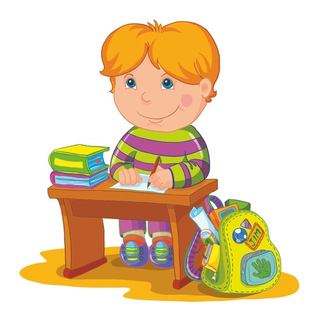 leccion: Ilustración colegial sentarse en la mesa de la escuela y escritura Vectores