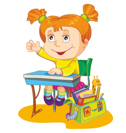 diligent: illustration-schoolgirl sit on the school desk Illustration