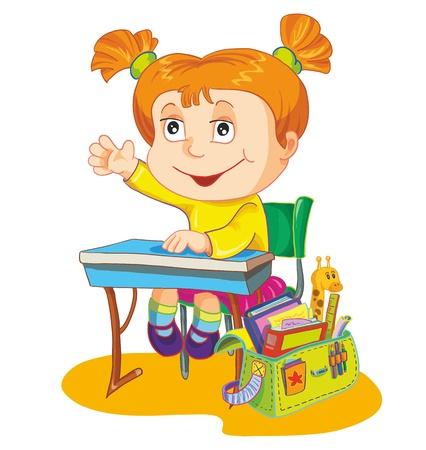 diligente: Ilustración colegiala sit en el escritorio de escuela