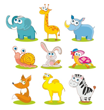 illustration- isolated wild animals set on white background Stock Vector - 10120419