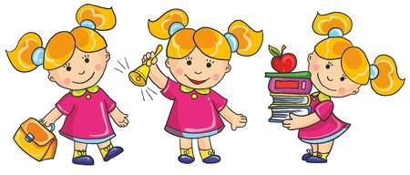 sch�ler: Vektor-Illustration-Sch�lerin gehen zur Schule, halten eine Menge B�cher, ring in die Goldene Glocke auf wei�em Hintergrund