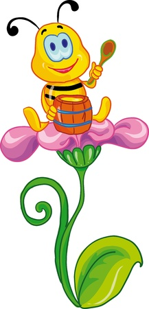 lunch break: vector illustration - little bee siting on the flower Illustration
