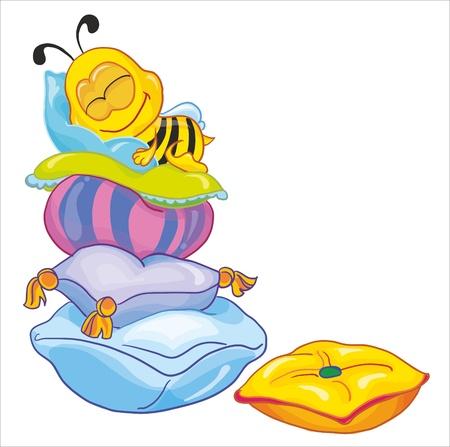 abeja caricatura: Ilustración de vectores-little bee en las almohadas