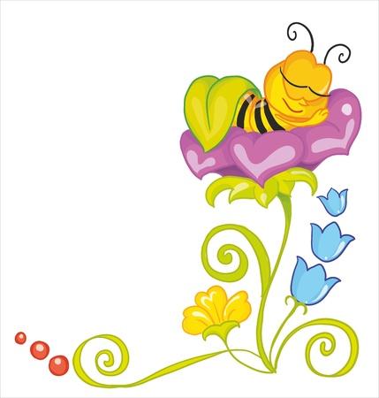 ベクトル イラスト - 少し蜂、大きな花の葉の下で寝ています。