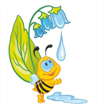 ベクトル イラスト - 少し蜂洗浄彼女自身の初期の露