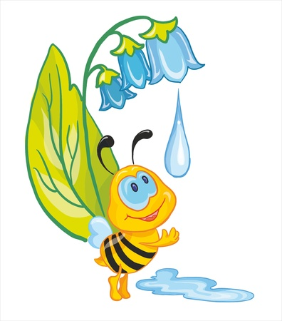 washstand: vector illustration - little bee wash herself in early dew