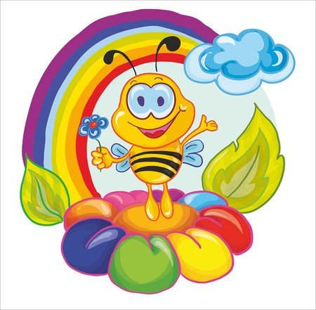 little insect: vector illustration - little bee on the flower under the rainbow