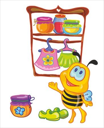 mosca caricatura: ilustración vectorial - bee poco en el guardarropa Vectores