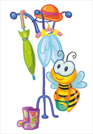 clothes peg: vector illustration - little bee in the cloakroom