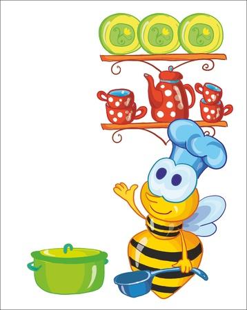 blue white kitchen: vector illustration - little bee on the kitchen Illustration