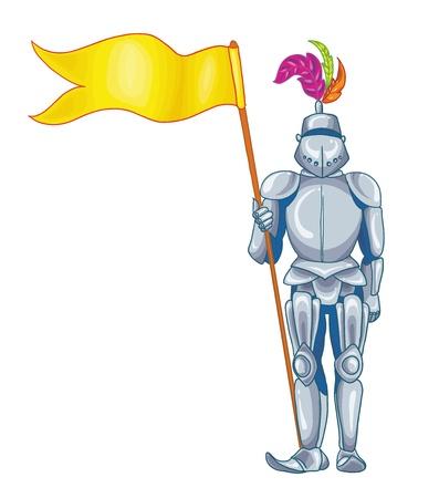 ベクトル イラスト - 彼の手に、白い背景の上の輝く鎧の騎士  イラスト・ベクター素材