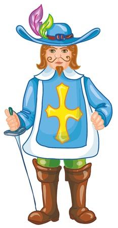 ベクトル イラスト-銃士色羽と色のブーツつばの広い帽子で、白い背景の上の彼の手でレイピアを保持