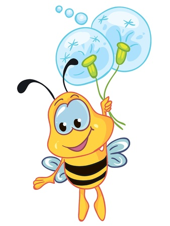 Illustration - Little bee on white background Illustration