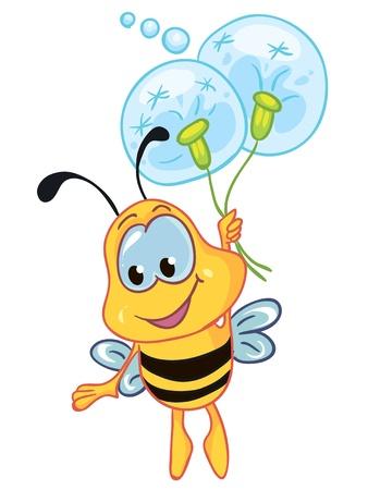 Illustration - Little bee on white background Çizim
