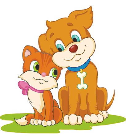Illustration - cute cat and dog isolated on white background Vector