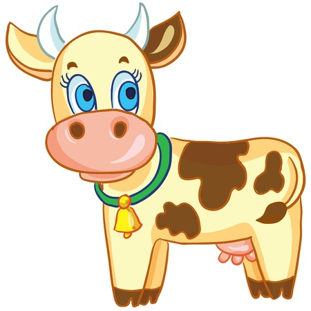 cartoon illustration - Funny cow on white background