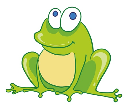 Illustration- isolated funny little smiling frog on white background