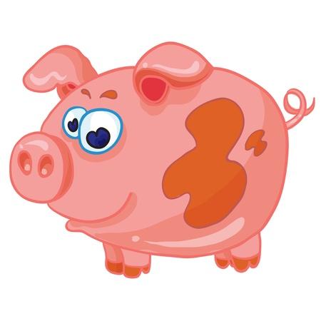 fattening: cartoon illustration - funny pig on white background Illustration