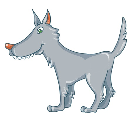 Illustration- isolated cartoon wolf on white background