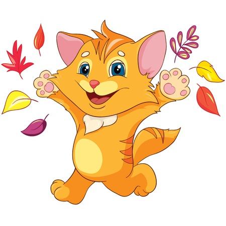 Illustration - Little happy kitten run on white background Illustration