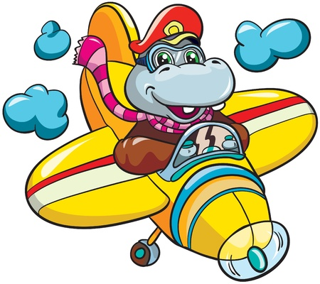 Illustration - Little cartoon hippopotamus pilot in  plane on white background