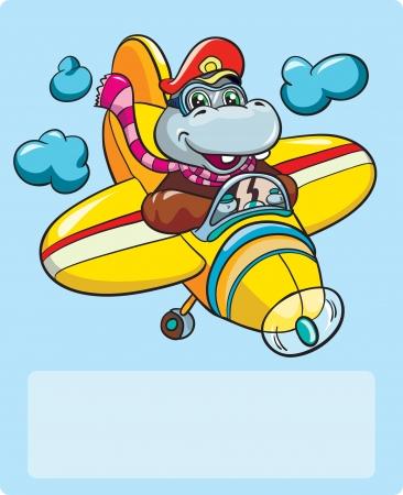 図 - 小さな漫画カバ パイロット飛行機バナー場所と青色の背景に