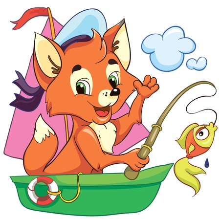 animal nose: Illustration - little cartoon fox in the boat on white background