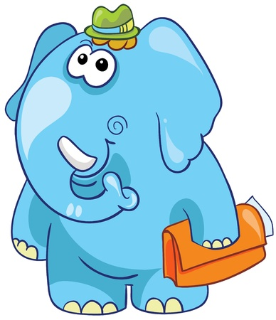 Illustration - cartoon elephant in green hat and with case isolated on white background Illustration