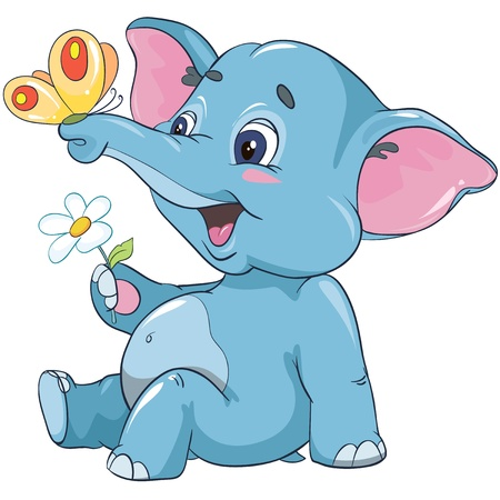 Illustration - little cartoon elephant calf with a flower and butterfly isolated on white background