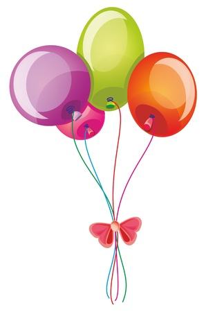 baloon: Illustration - Sheaf of balloons on white background Illustration