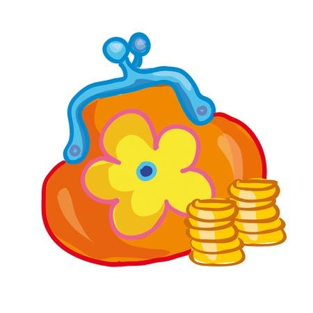 イラスト - 花の白い背景の上の小銭