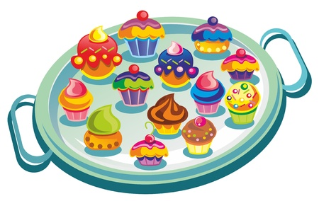 gateau: Illustration - plate with muffins on white background Illustration