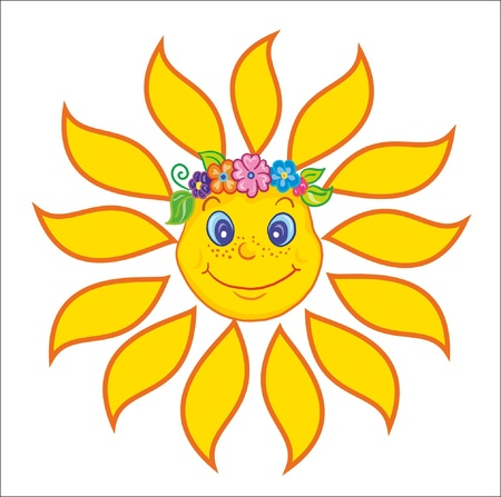 Illustration- sun in flower chaplet on white background