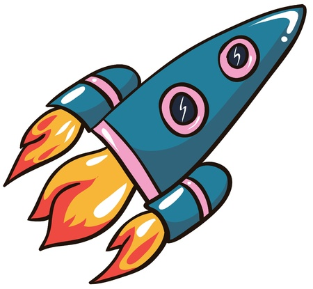 Illustration - Cartoon Rocket on white background Illustration